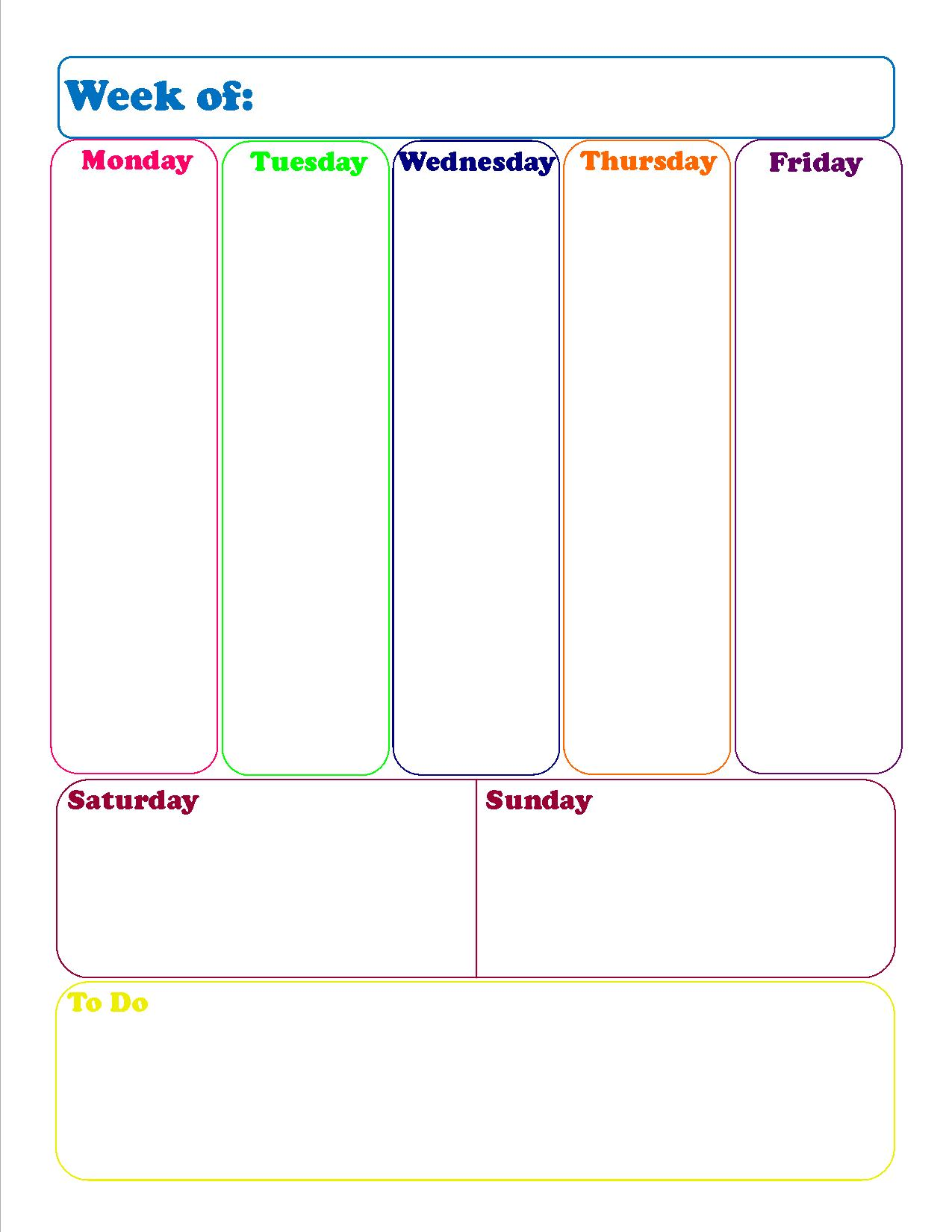 Weekly Calendar Print Out : Weekly calendar print out new template site